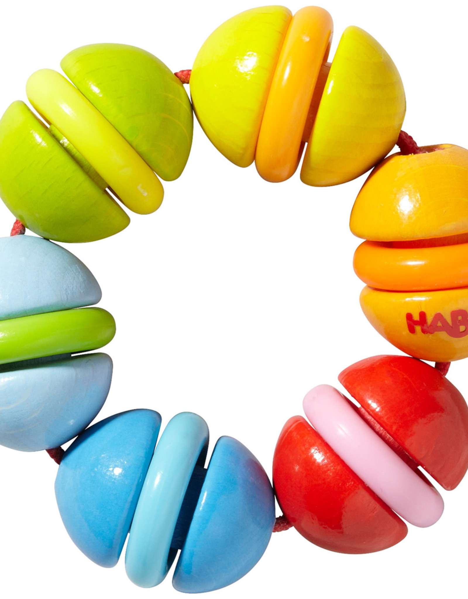 Haba Clatterit Wooden Clutching Toy with Plastic Rings