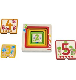 Haba Counting Friends Wood Layering Puzzle 1 to 5