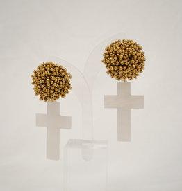 Team #RLN Seasonal Gold and White Cross Earrings
