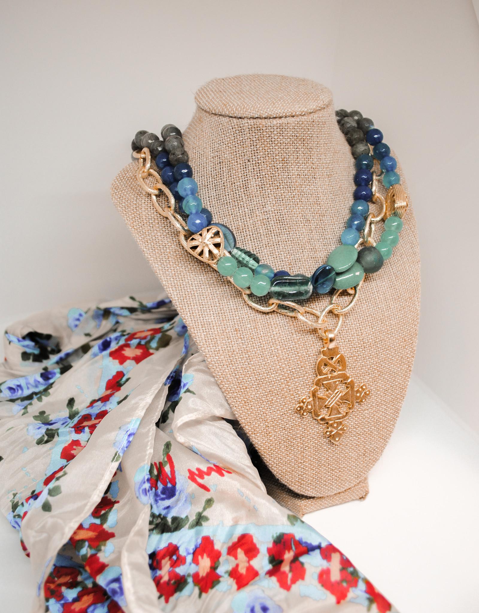 Susan Shaw Susan Shaw Gold 3 Row Cross Necklace