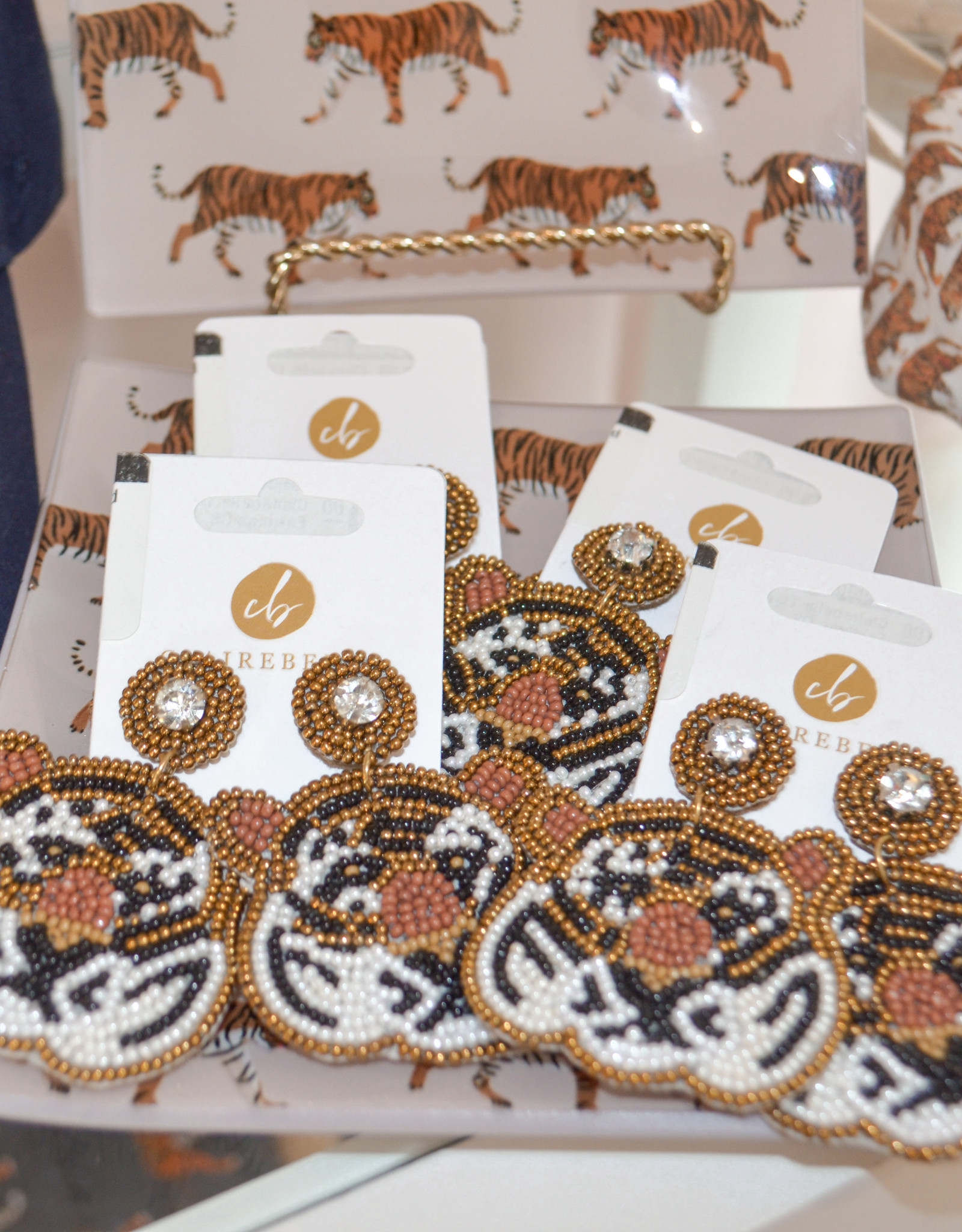 Clairebella Studio Tiger Beaded Earrings
