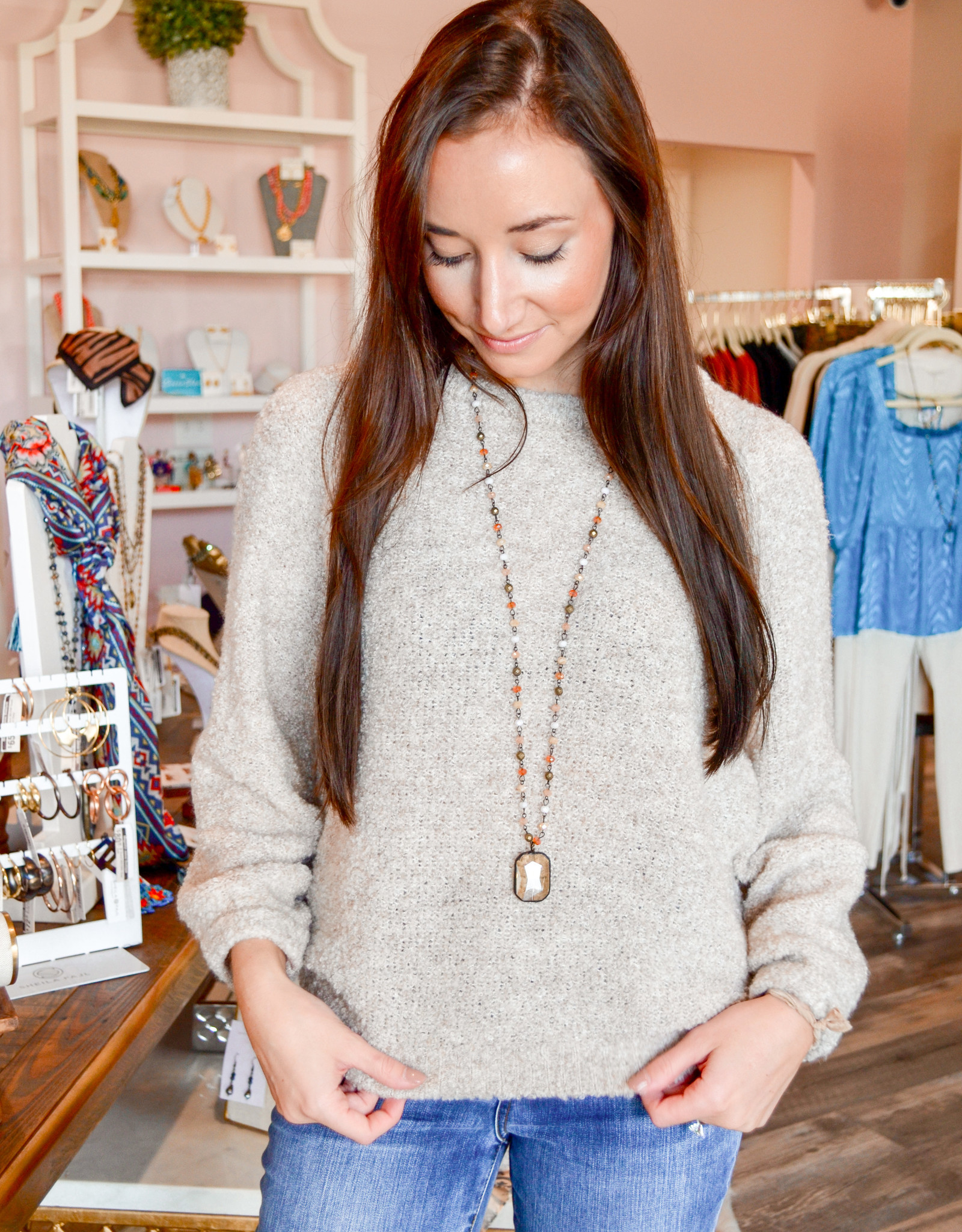 Lilla P Oversized Boucle Crewneck Sweater