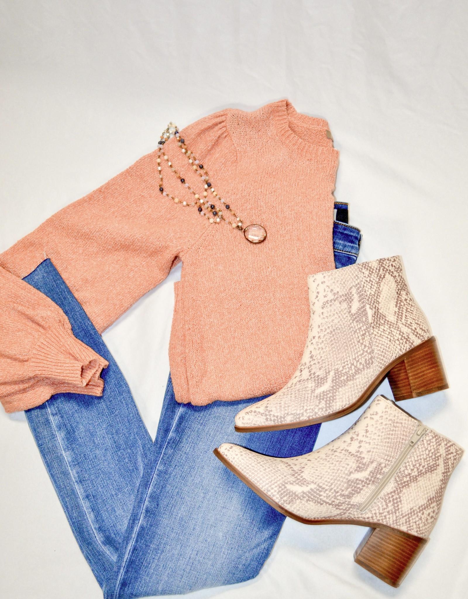Lilla P Rose Quartz Puff Sleeve Crewneck Sweater