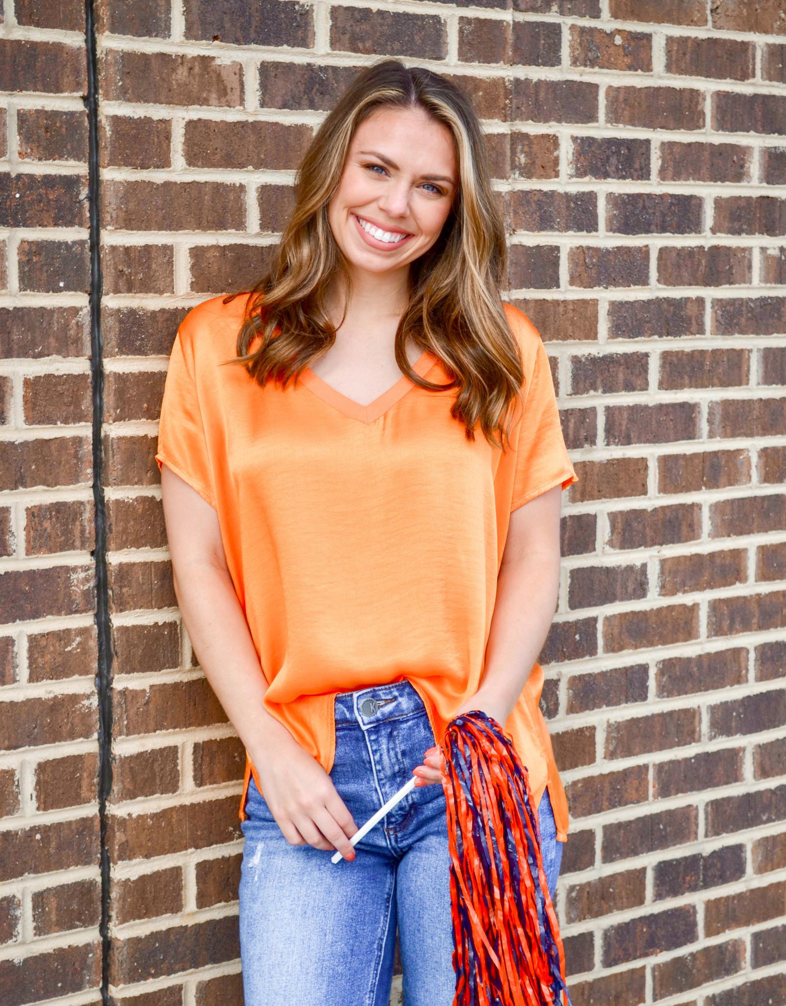Orange Sophia Silk Top