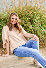 Anna Cate Nina Camel Suede Blouse
