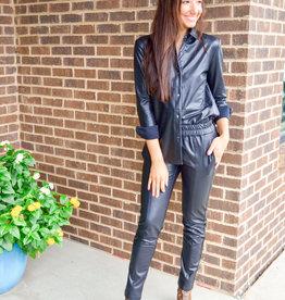 Elliott Lauren Black Faux Leather Button Down