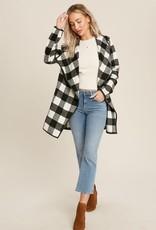 Sunglight Buffalo Plaid Drape Front Jacket- Black & White
