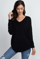 Dreamers LS V Neck W/ Center Seam Detail- Black