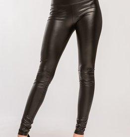 Cherish High Waist Fold Over Pleather Leggings- Black