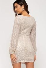 Style U Square Neck Sequin Mini Dress-Cream