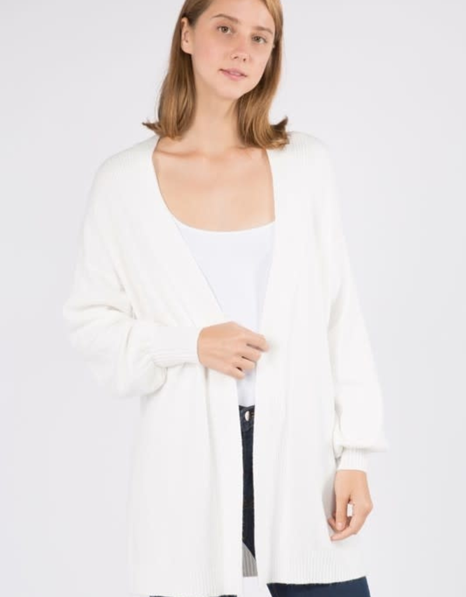 Dreamers Balloon Sleeve Cardigan- Off White