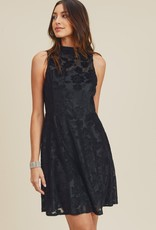 Doe & Rae Mock Neck Velvet Fit & Flare Dress- Black