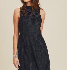 Doe & Rae Mock Neck Velvet Fit & Flare Dress- Black