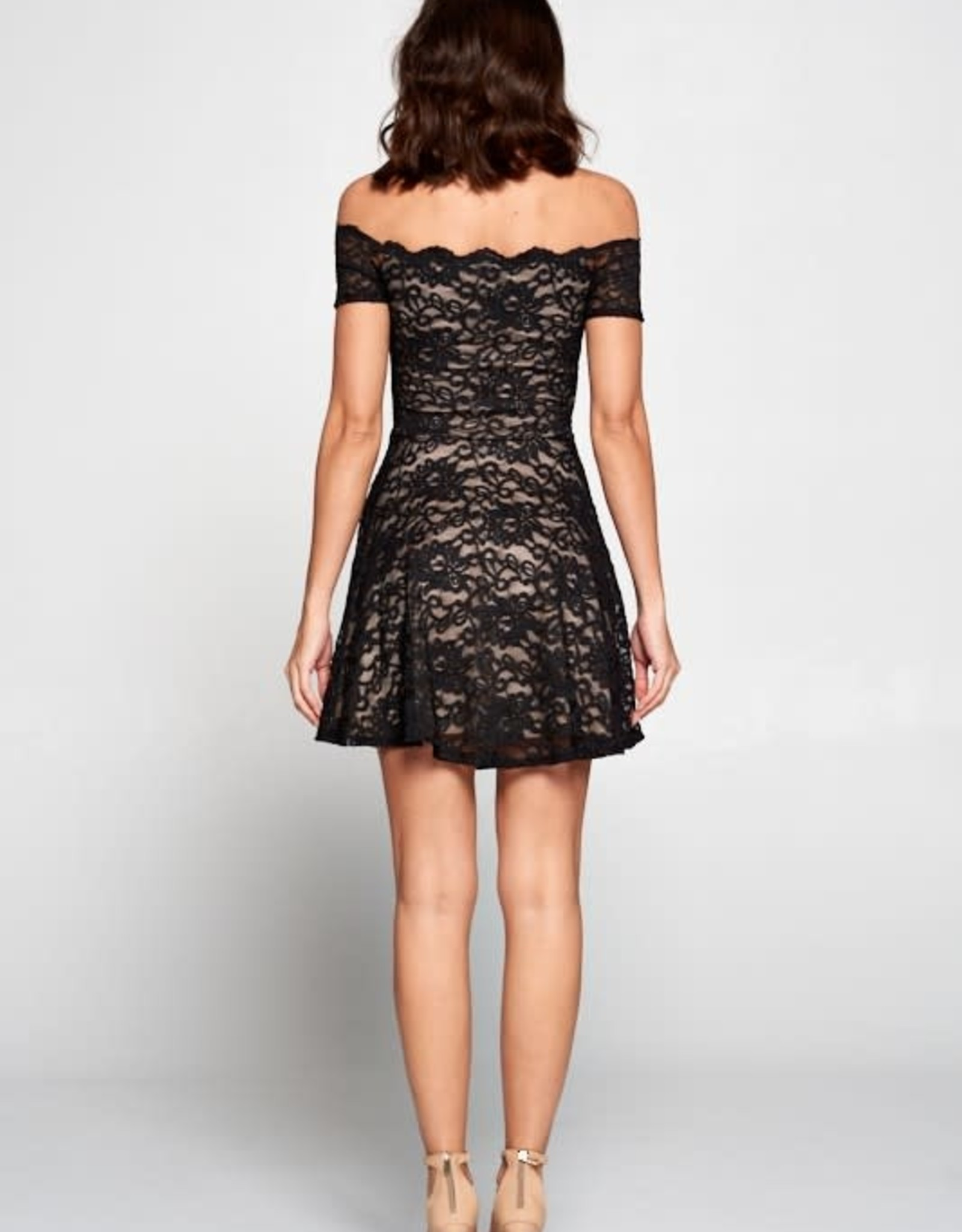 Lovely Day Scallop Lace Off Shoulder Fit & Flare Dress- Black & Nude