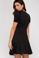 Style U Short Puff Sleeve Animal Print Dress- Black