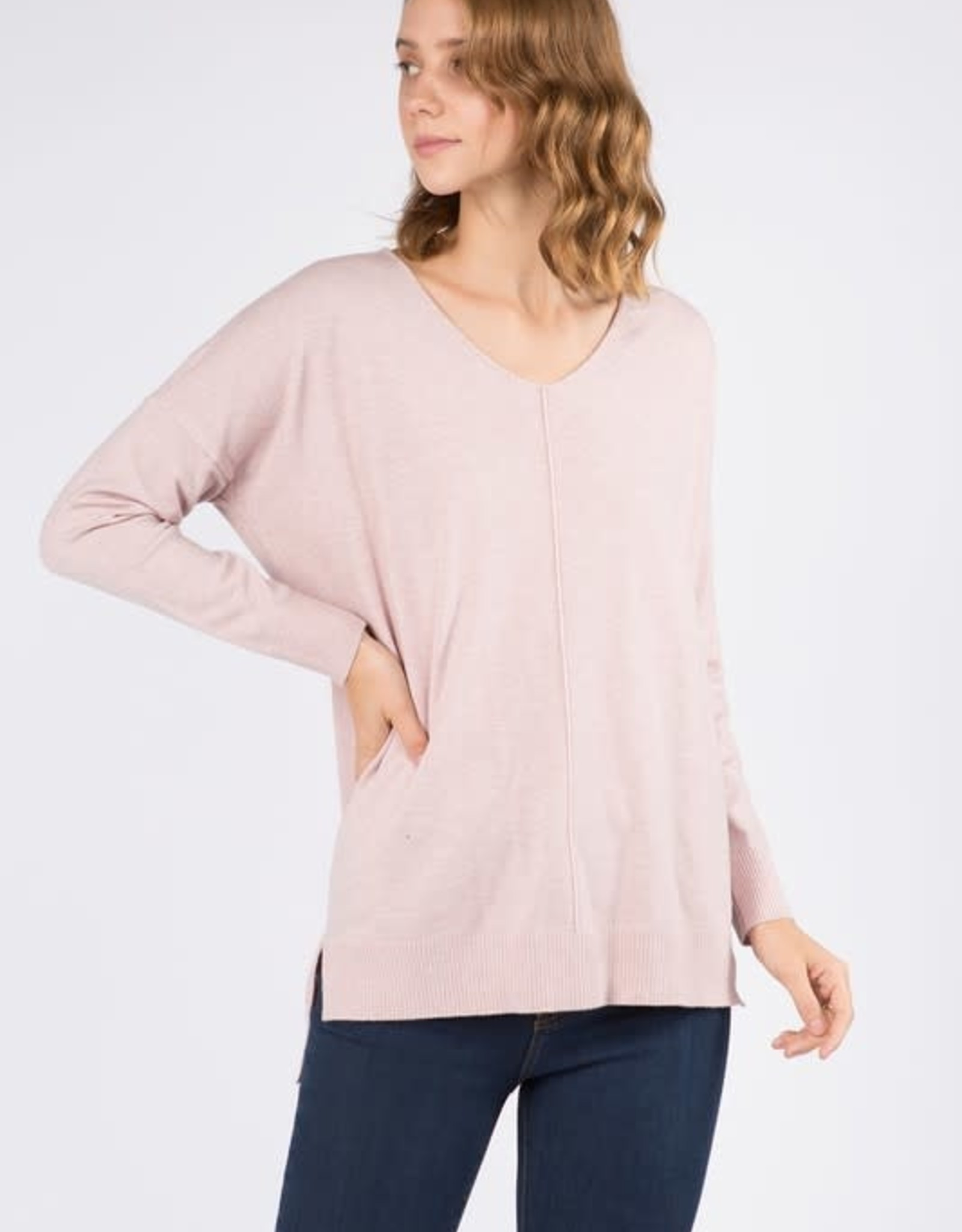 Dreamers LS V Neck W/ Center Seam Detail- Heather Peony