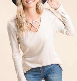 Miss Bliss LS Thermal Knit Tunic With Crisscross- Oatmeal
