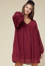 Miss Bliss LS Bobble Sheer Mini Dress- Burgundy