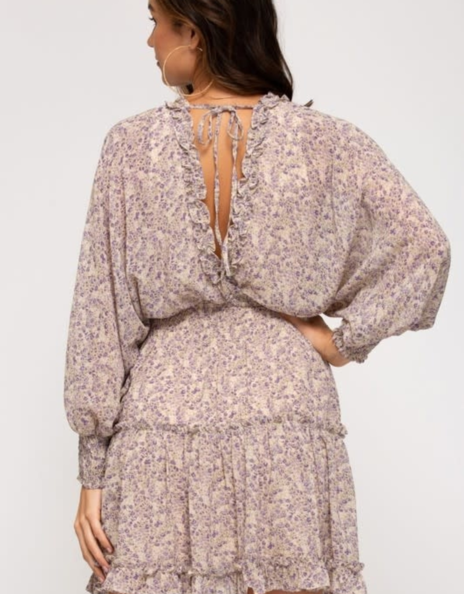Miss Bliss Long Sleeve Ruffle Detail Floral Dress Lavender