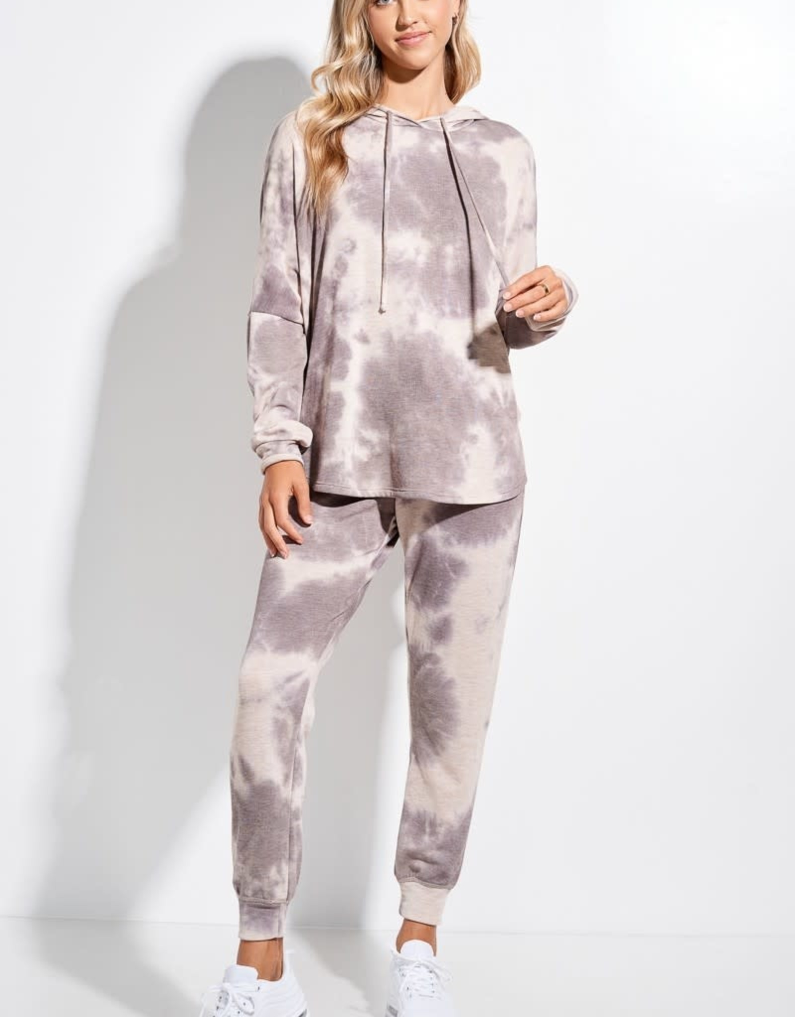 Miss Bliss Lounge Wear Tie Dye Set- Grey