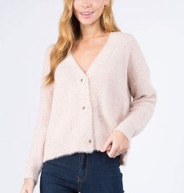 Miss Bliss Soft Knit Button Up Cardigan- Blush