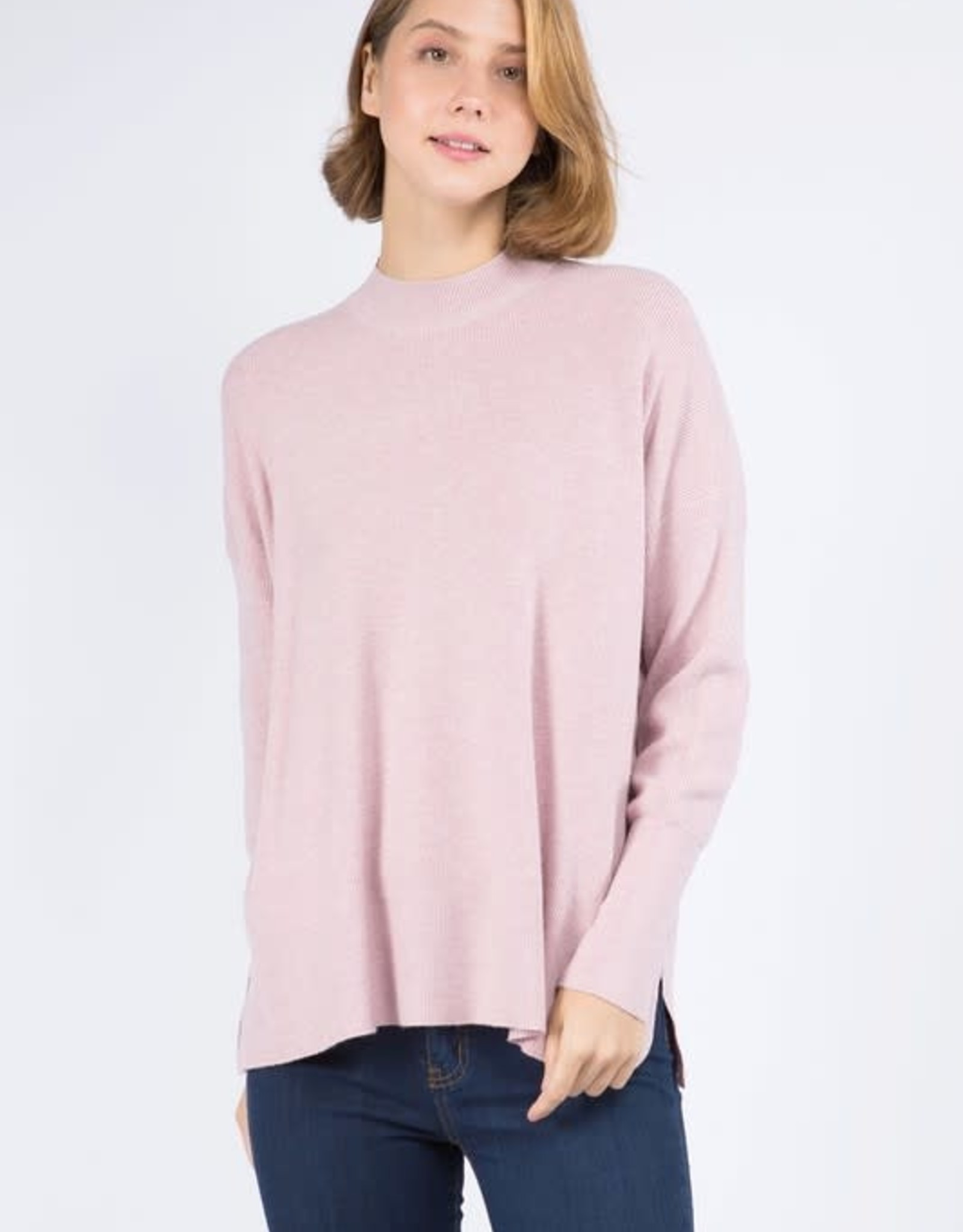 Miss Bliss Mockneck Pullover Sweater- H.Peony