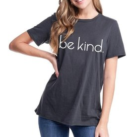 "Miss Bliss Graphic ""Be Kind"" Solid SS Basic T Shirt-Black"