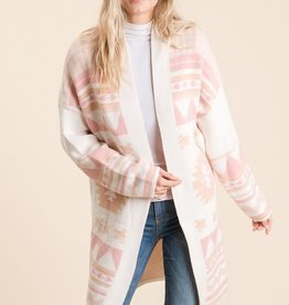 Miss Bliss Aztec Sweater Cardigan-Ivory/Pink
