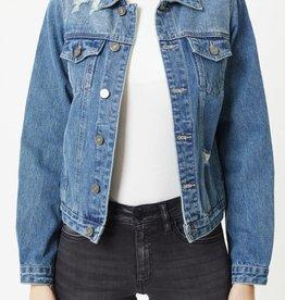 Miss Bliss Distressed Denim Jacket- Blue