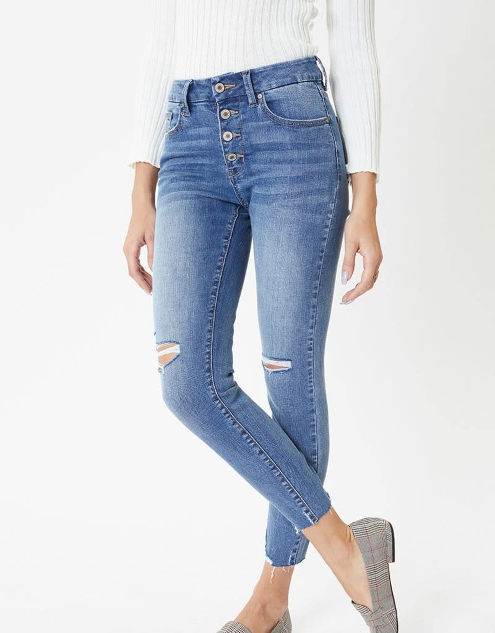 Miss Bliss Mid Rise Button Fly Skinny- Washed