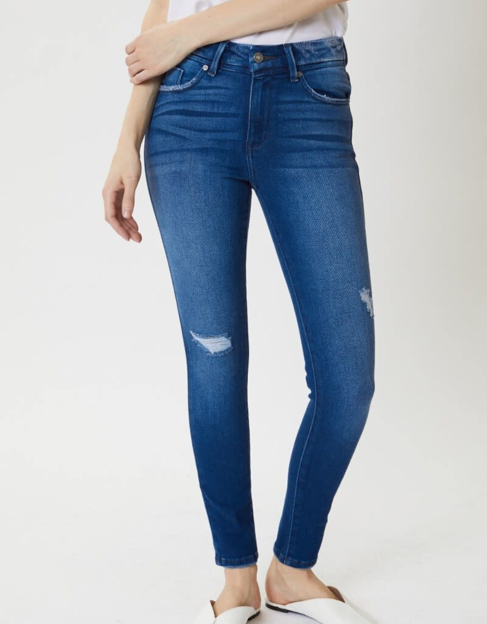 Miss Bliss High Rise Distressed Skinny- Deep Blue