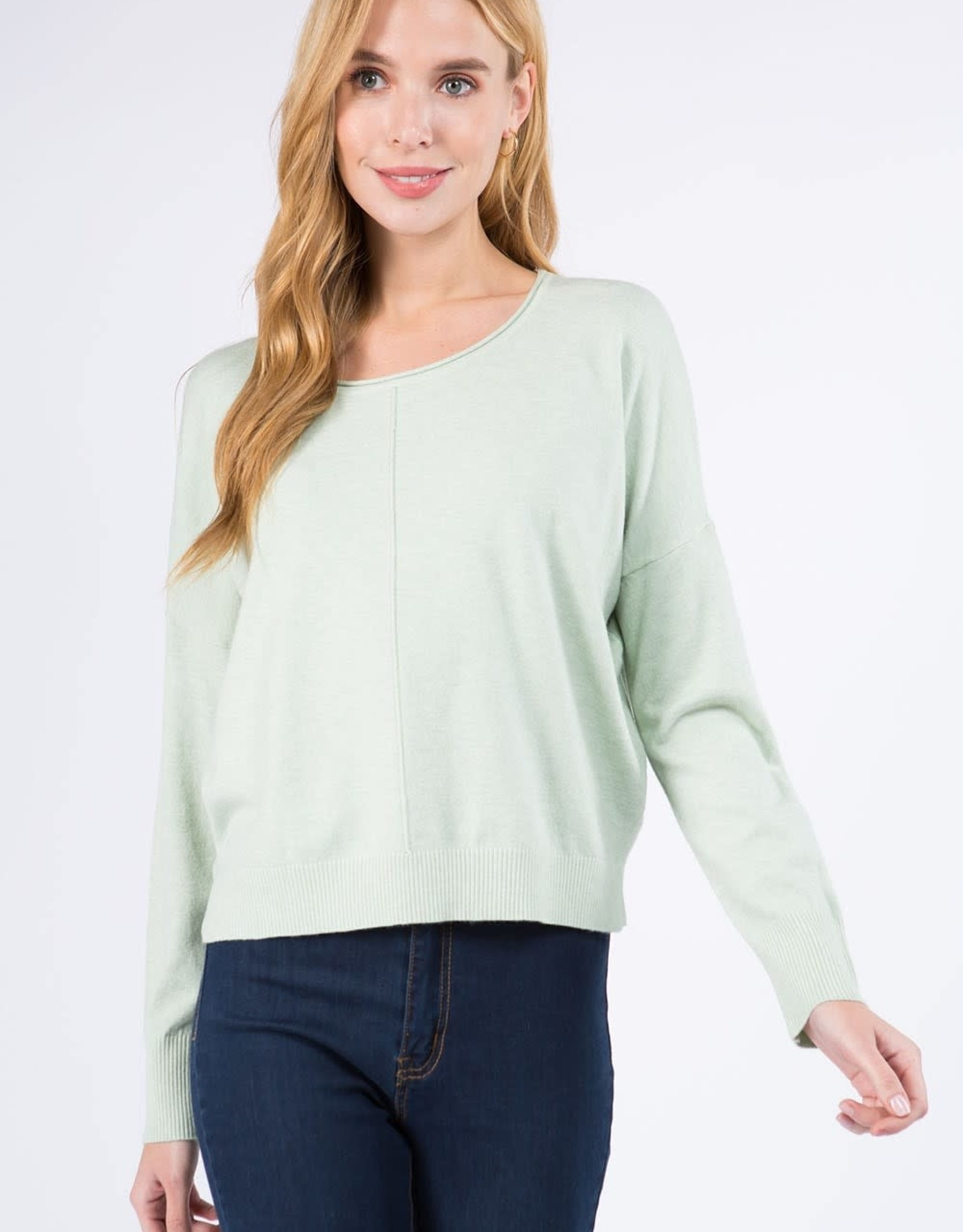 Miss Bliss Round Neck Pullover- H. Celery