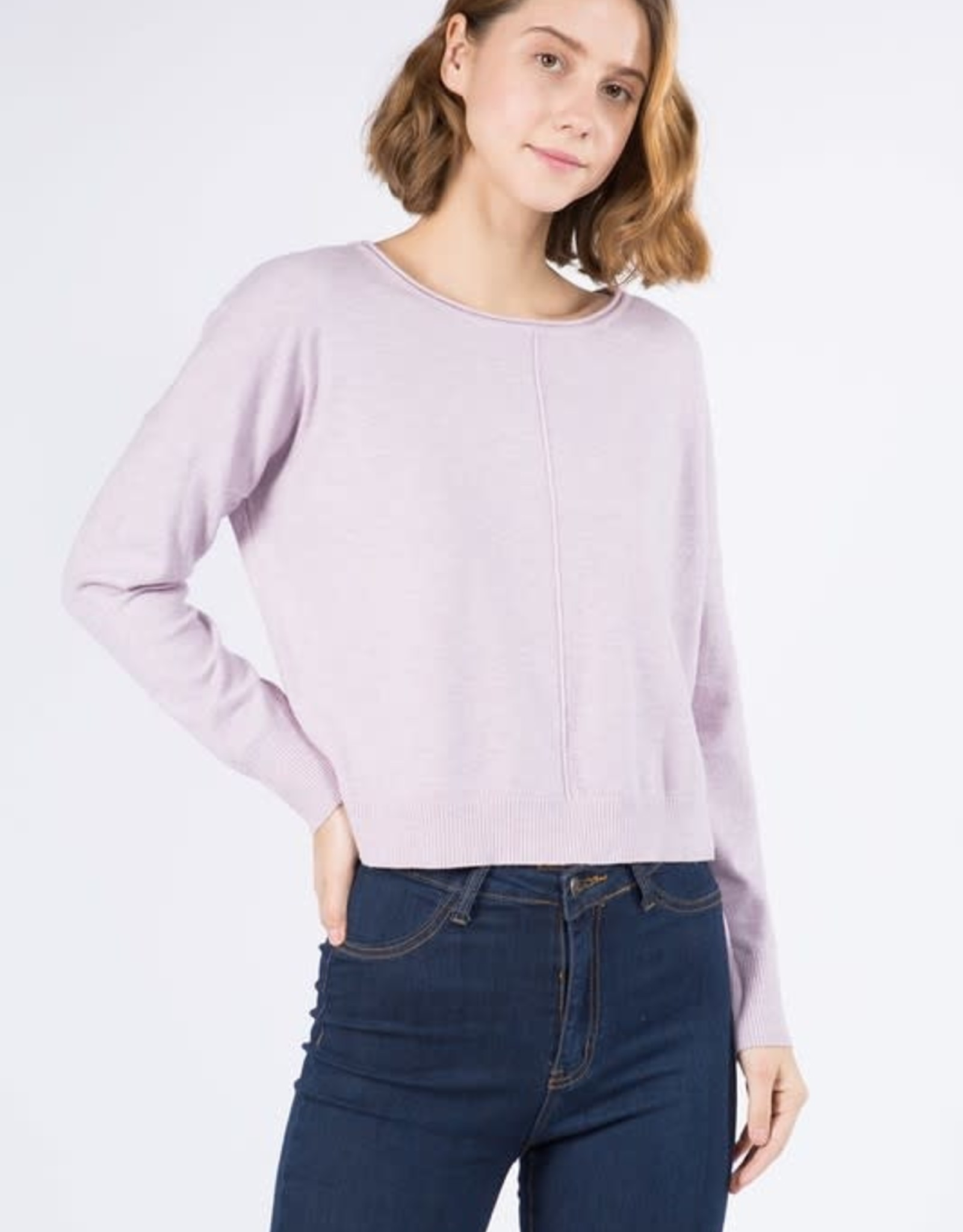 Miss Bliss Round Neck Pullover- H. Pale Lilac