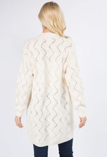 Miss Bliss Wave Pointelle Open Cardigan- Cream