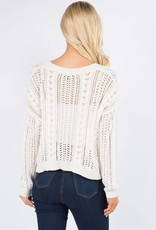 Miss Bliss V Neck Button Down Cardigan- Ivory