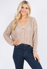 Miss Bliss V Neck Button Up Cardigan- Taupe