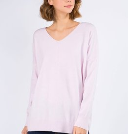 Dreamers Dreamers V Neck W/Center Detail- Heather Pale Pink