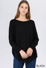 Dreamers Boat Neck Sweater w/ Scoop Hem- Black