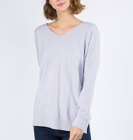Miss Bliss LS V Neck W/ Center Seam Detail- H. Cement