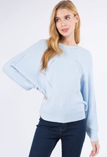 Miss Bliss LS Ribbed Pullover- Blue
