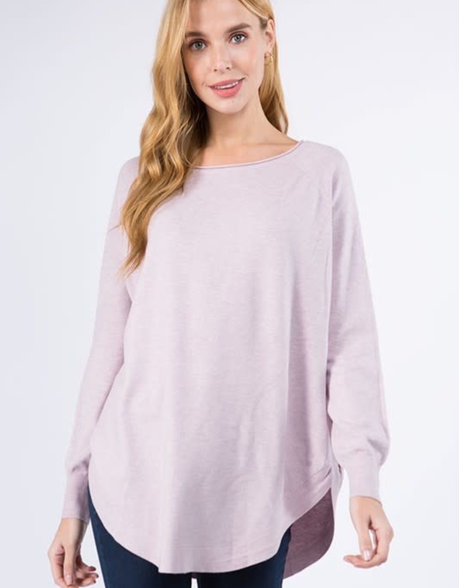 Miss Bliss Boat Neck Sweater w/ Scoop Hem- H.Pale Lilac
