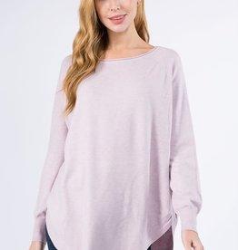 Miss Bliss Boat Neck Sweater w/ Scoop Hem- H.Pale Lilac