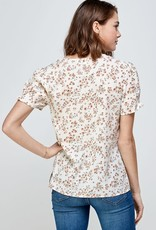 Miss Bliss SS V Neck Button Down Top- Ivory