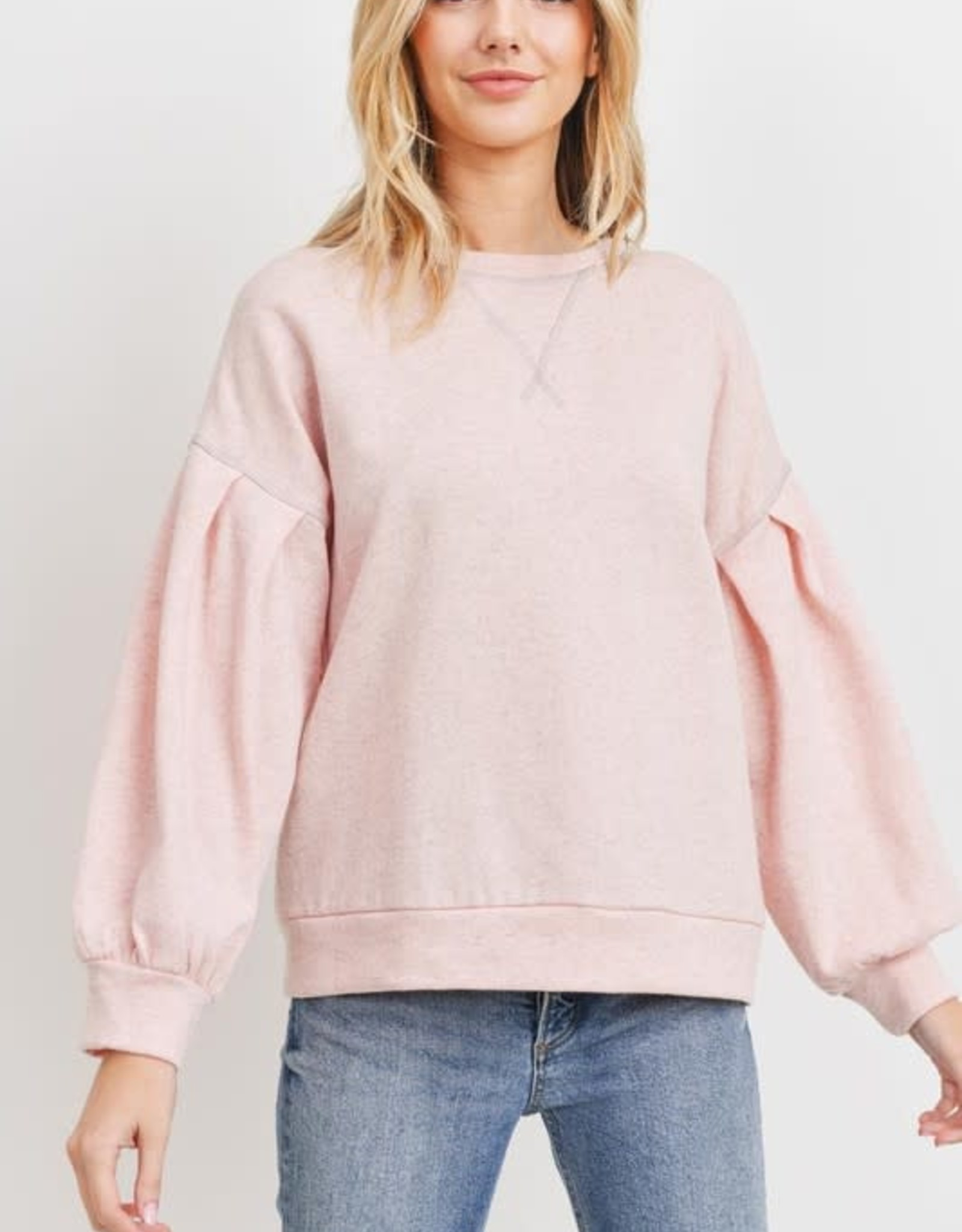 Miss Bliss Balloon Sleeve Terry Knit Pullover- Pink