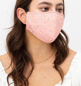 Miss Bliss Floral Print Face Mask-Salmon OS