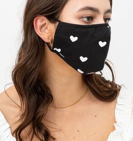 Miss Bliss Heart Printed Face Mask OS-Black/White