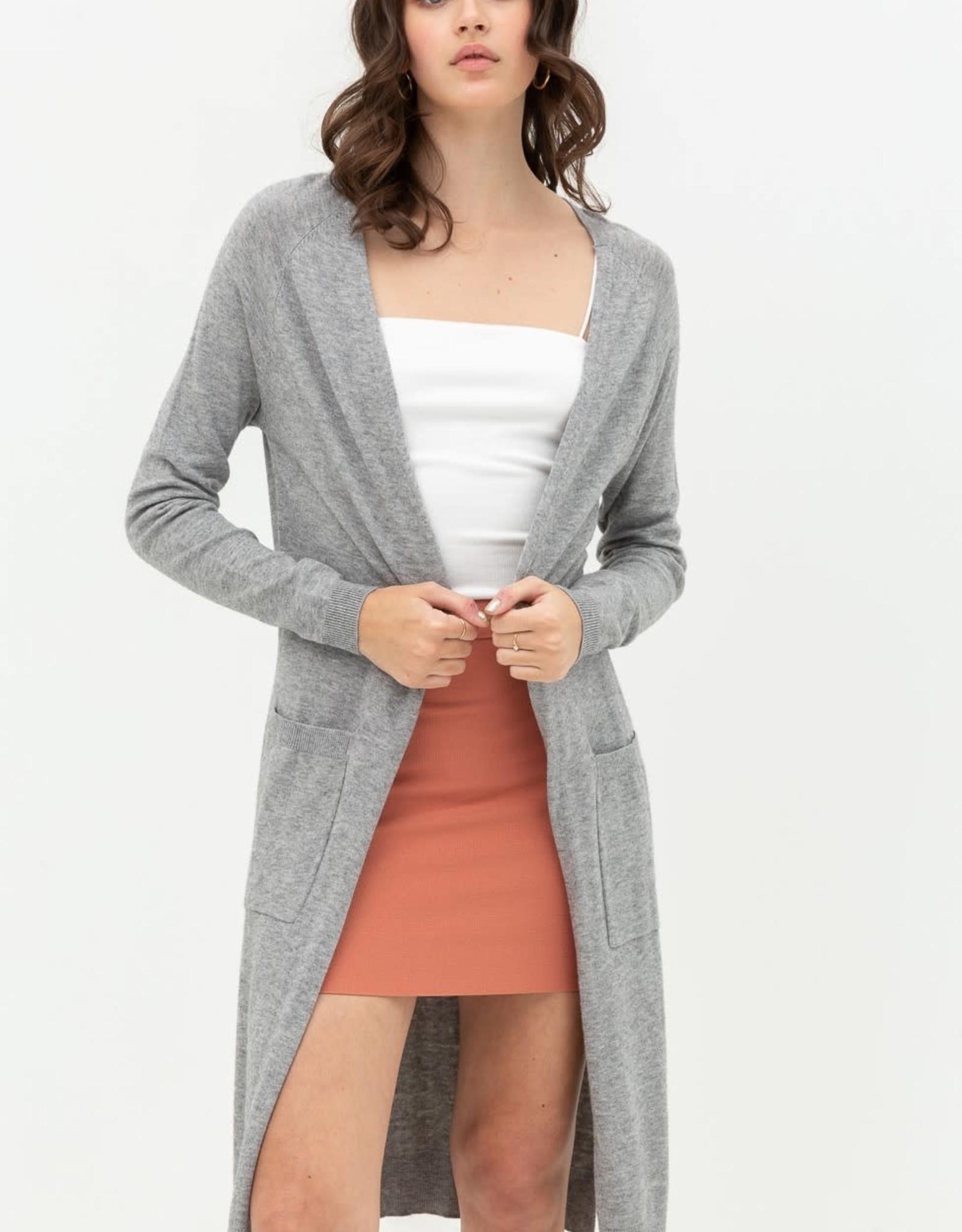 Miss Bliss LS Knit Cardigan W Ribbed Knit Cuffs- H.Grey