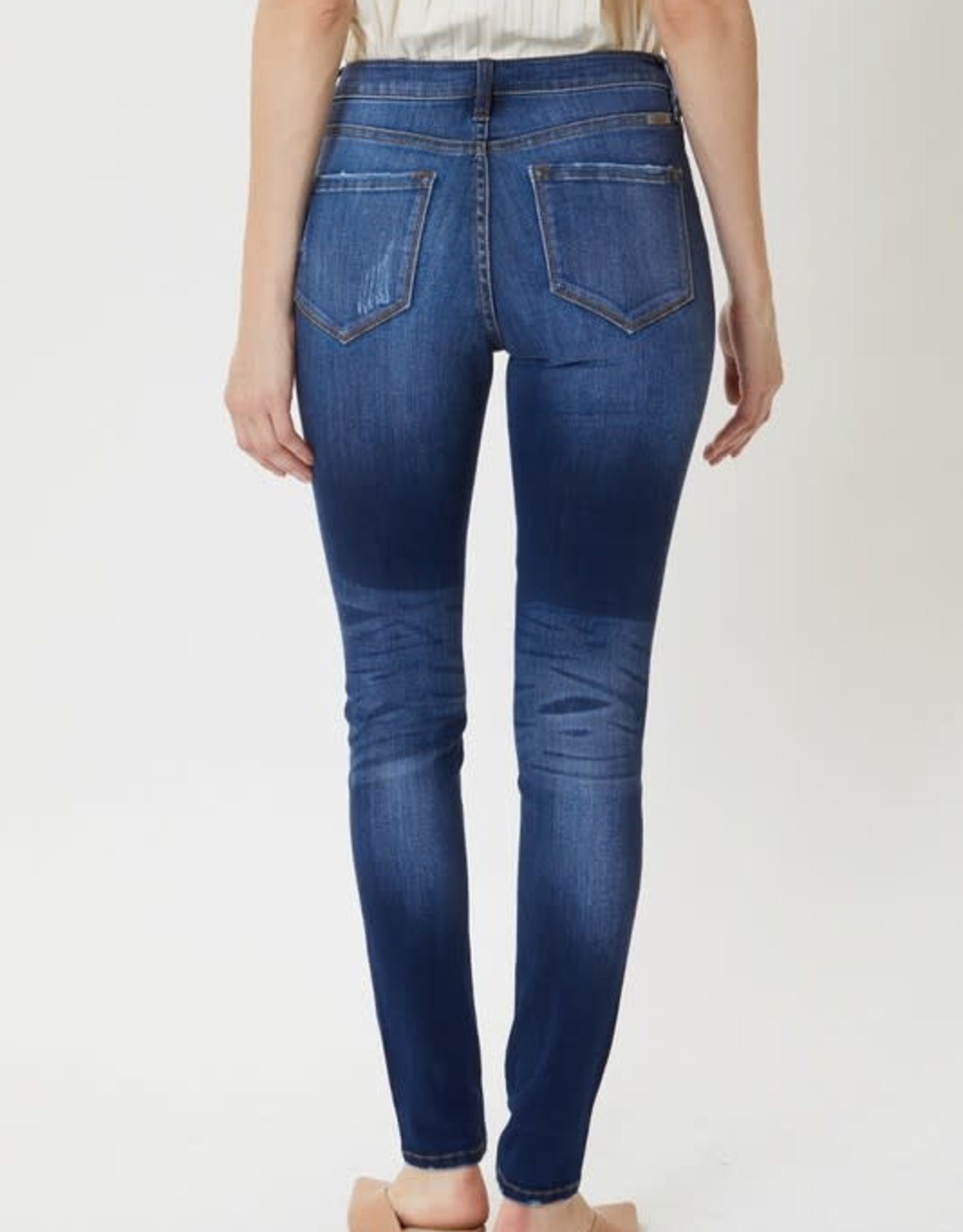 Miss Bliss High Rise Button Fly Super Skinny- Dark Washed