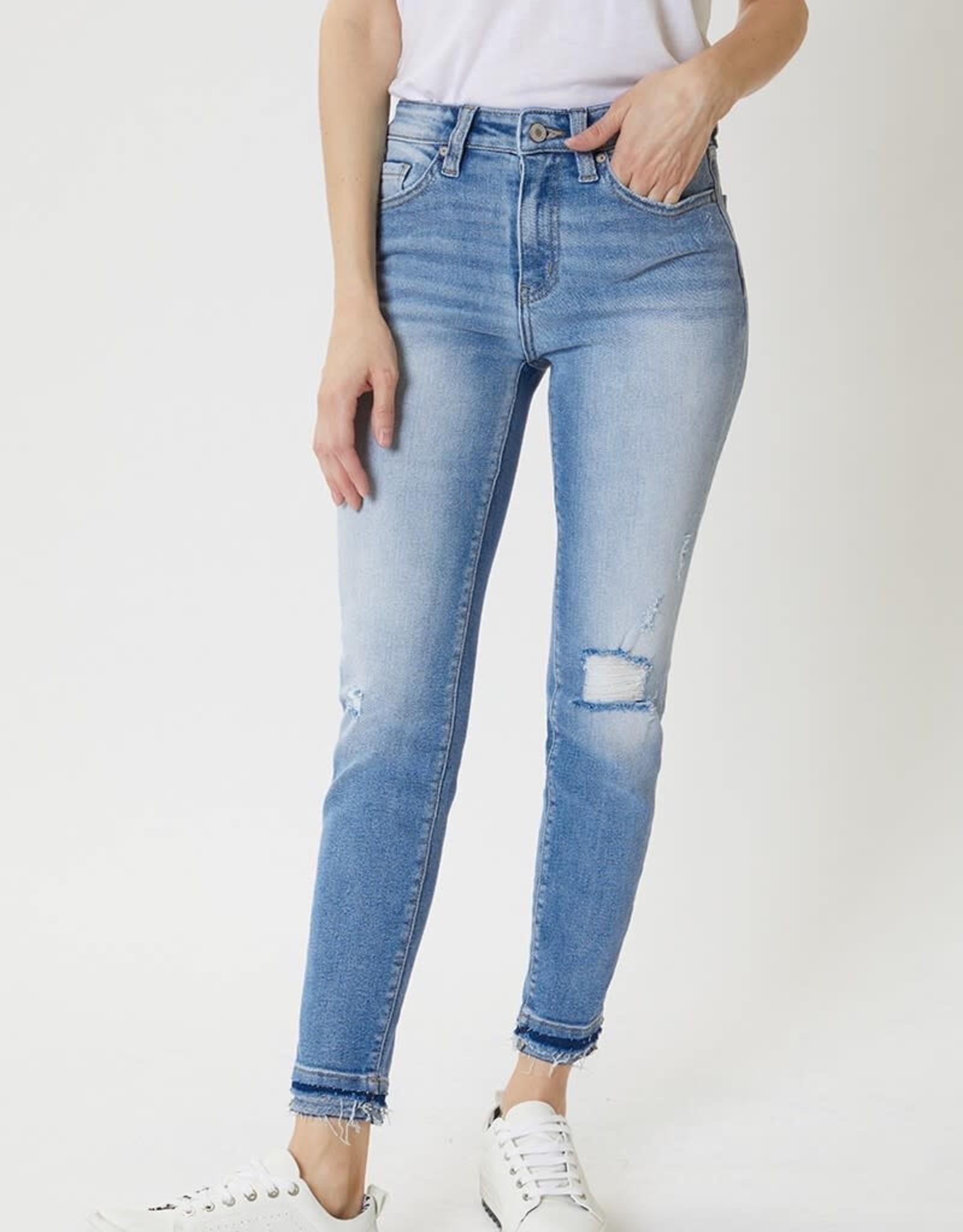 Miss Bliss High Rise Hem Detail Ankle Skinny- White Wash