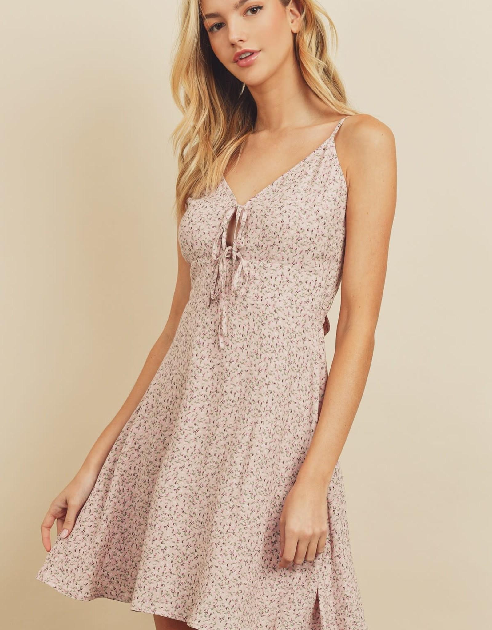Miss Bliss Ditsy Floral Print Mini Dress- Dusty Pink